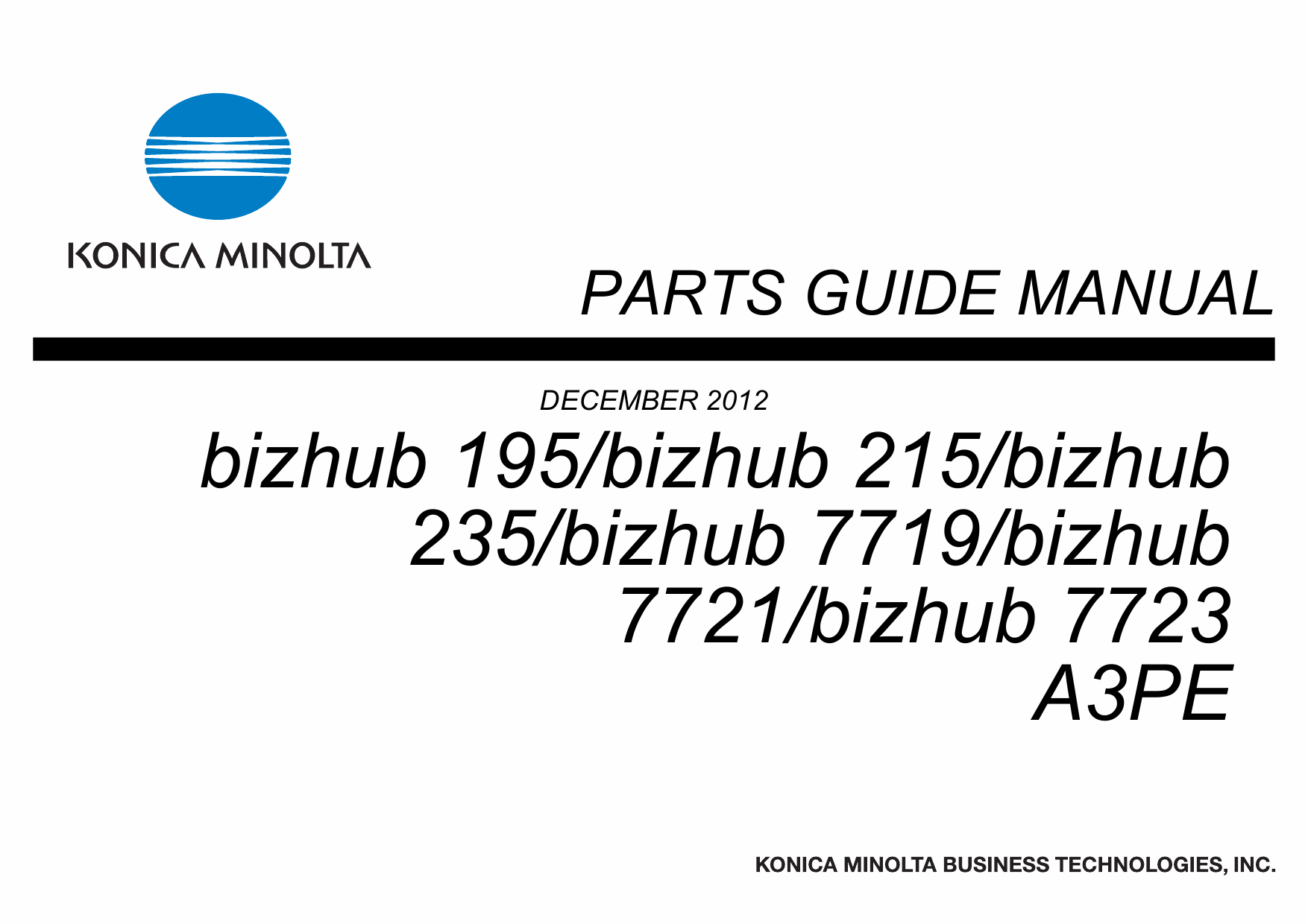 Konica-Minolta bizhub 195 215 235 7719 7721 7723 Parts Manual